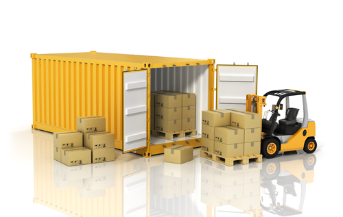 Forklift loading a cargo container